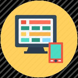 application development, page construction, responsive design, responsive web design, web design icon