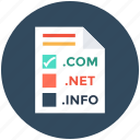 com, dns, domain name system, info, internet domains, net icon