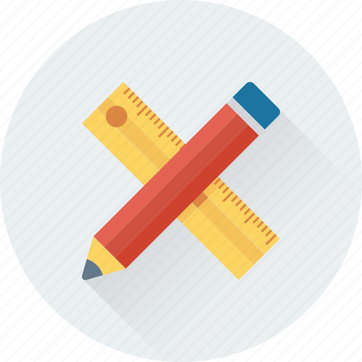 drafting tools, drawing tools, pencil, ruler, scale icon