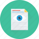 analysis, document, eye, preview, research icon