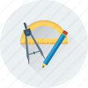 compass, drafting, geometry, pencil, protractor icon