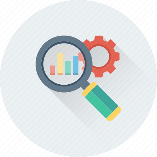 analysis, graph, magnifier, optimization, search engine icon