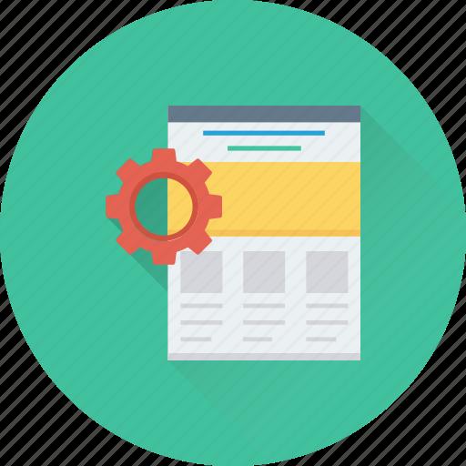 cog, preferences, web, web setting, webpage icon