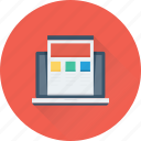 frontend, laptop, web designing, web template, wireframe icon
