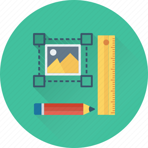 design tools, mouse, pencil, scale, selection icon