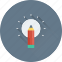 bulb, creativity, designing, idea, pencil icon