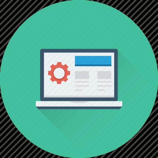 cog, development, laptop, macbook, screen icon