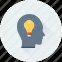 bulb, creative mind, head, innovative, intelligent icon