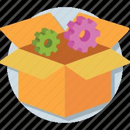 box, cogwheel, configuration, development, preferences icon