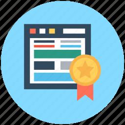 emarketing, ribbon badge, web ranking, webpage, webpage quality icon