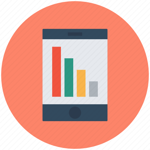 analyzing graph, business concept, mobile graph, mobility, screen showing icon