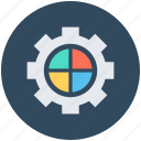 business chart, business element, gearwheel, marketing, pie chart icon