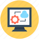 cloud computing, cloud network, monitor screen, wireless network, wireless technology icon