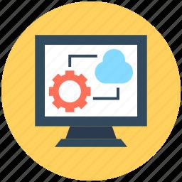 cloud computing, cloud network, monitor screen, wireless network, wireless technology icon