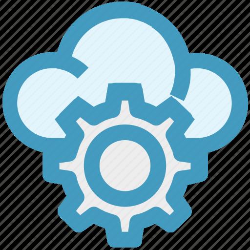 cloud, cloud computing, cloud setting, cogwheel, gear, setting, setup icon