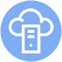 cloud, cloud computing, cpu, cpu tower, networking, sharing, web icon