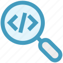 coding, development, find, html, magnifier, search, zoom
