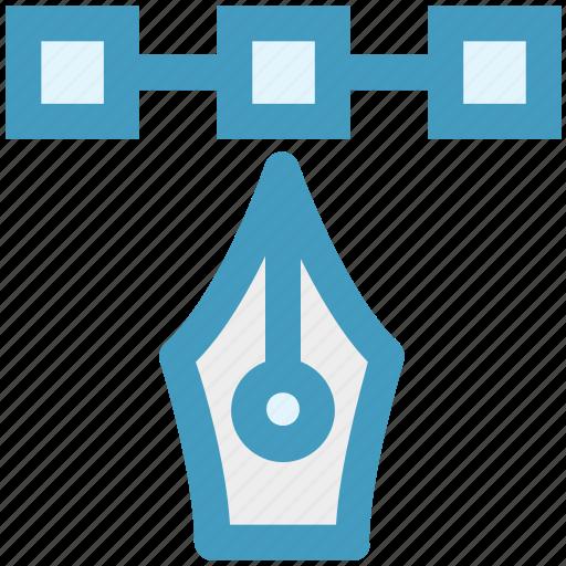 bezier, curve, design, illustrator, line, pen tool, shape tool icon