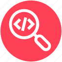 coding, development, find, html, magnifier, search, zoom icon