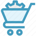 cart, cog, gear, optimize, settings, shopping cart, sprocket