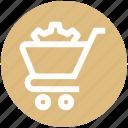 cart, cog, gear, optimize, settings, shopping cart, sprocket