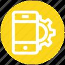 cogwheel, configuration, gear, mobile marketing, mobile setting, option, smartphone