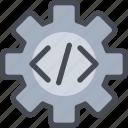 code, coding, development, gear, process