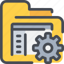 development, document, file, folder, gear, process icon
