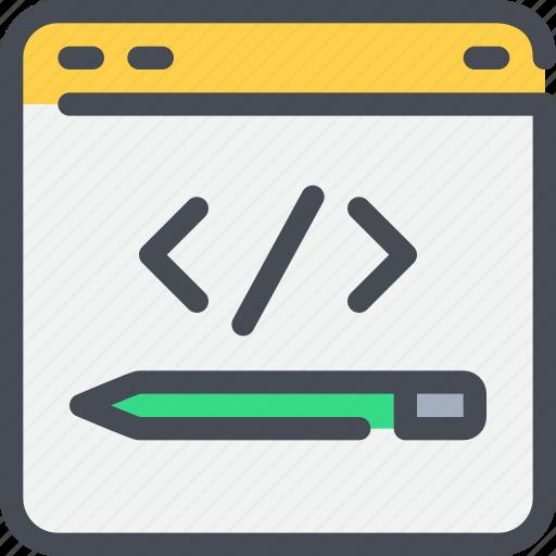 browser, code, coding, development, pencil, web icon