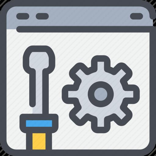browser, develop, development, gear, process, web icon
