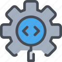 code, coding, development, gear, process icon