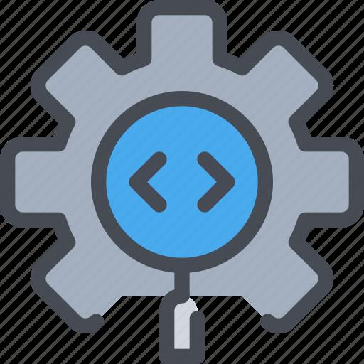 code, coding, development, gear, process icon
