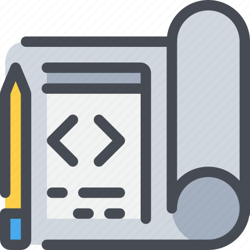 code, coding, development, pencil, plan, planning icon