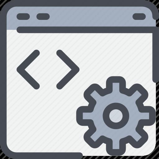 browser, code, develop, development, gear, process, web icon