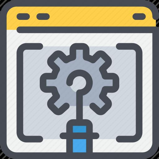 browser, development, gear, process, web icon