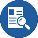 data searching, file search, find document, magnifier, magnifying, text searching icon