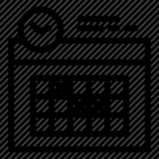 calendar, clock, day, design icon