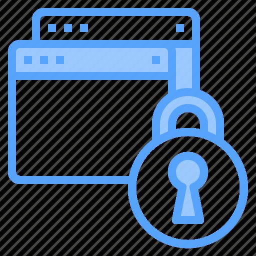 blogging, design, ideas, laptop, lock, programming, technology icon