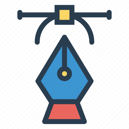 bezier, curved, drawing, pen icon