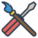 brush, fix, paint, screwdriver icon