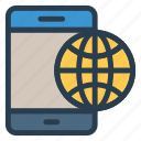 browser, mobile, phone, world icon