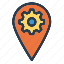 location, map, pin, setting icon