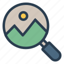 magnifier, photo, picture, searcg icon
