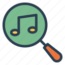 magnifier, music, search, song icon