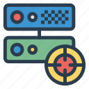 datacenter, server, storage, target icon
