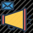 inbox, mail, message, speaker icon