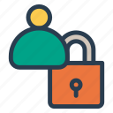 lock, protect, secure, user icon