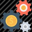 cog, dollar, economy, gears, investment plan icon