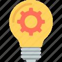 bulb, creativity, gear, idea, innovation icon