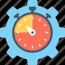 cog, deadline, reminder, schedule, stopwatch icon
